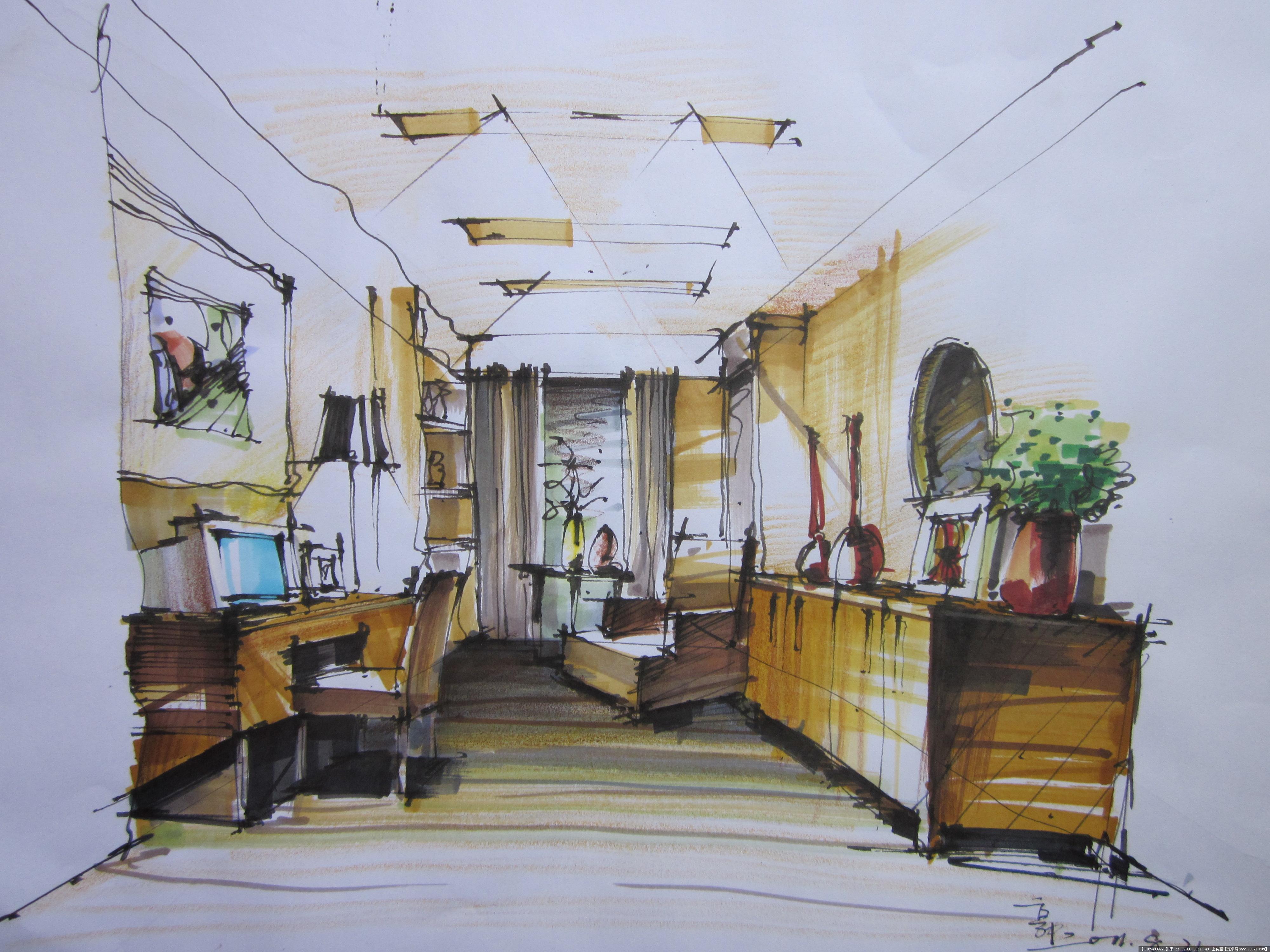 室内设计方案手绘效果图