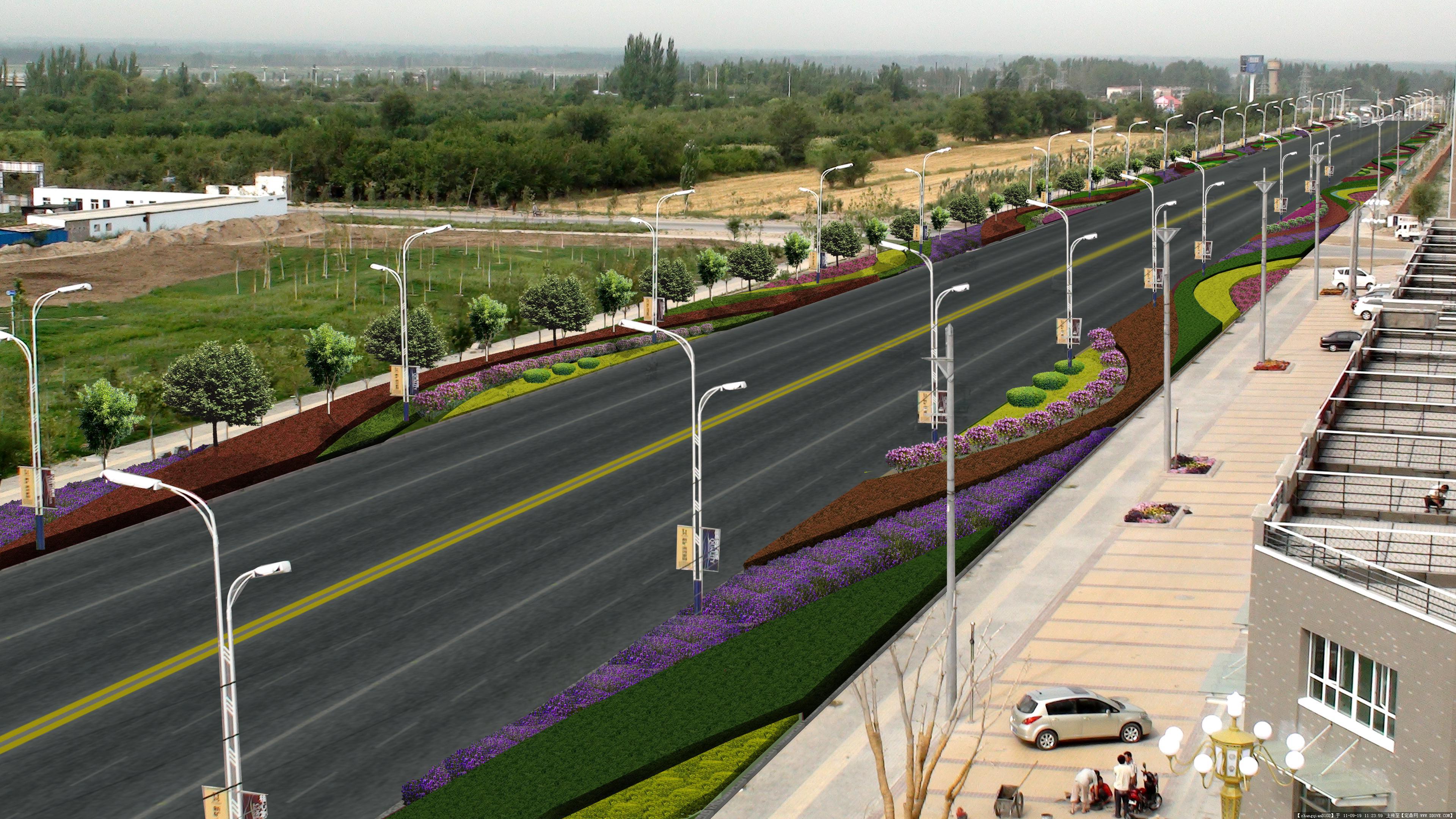 伊宁市新华西路道路绿化效果图的图片浏览,园林效果图,道路