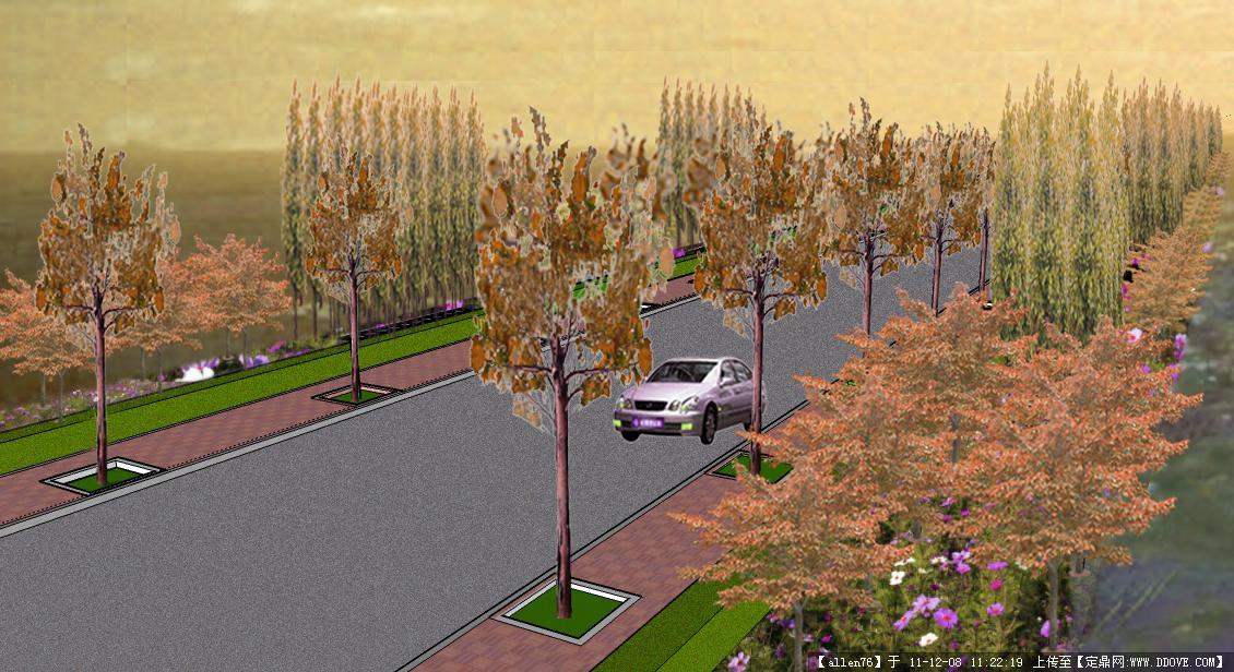 道路绿化设计效果图的图片浏览,园林效果图,道路景观,园林景