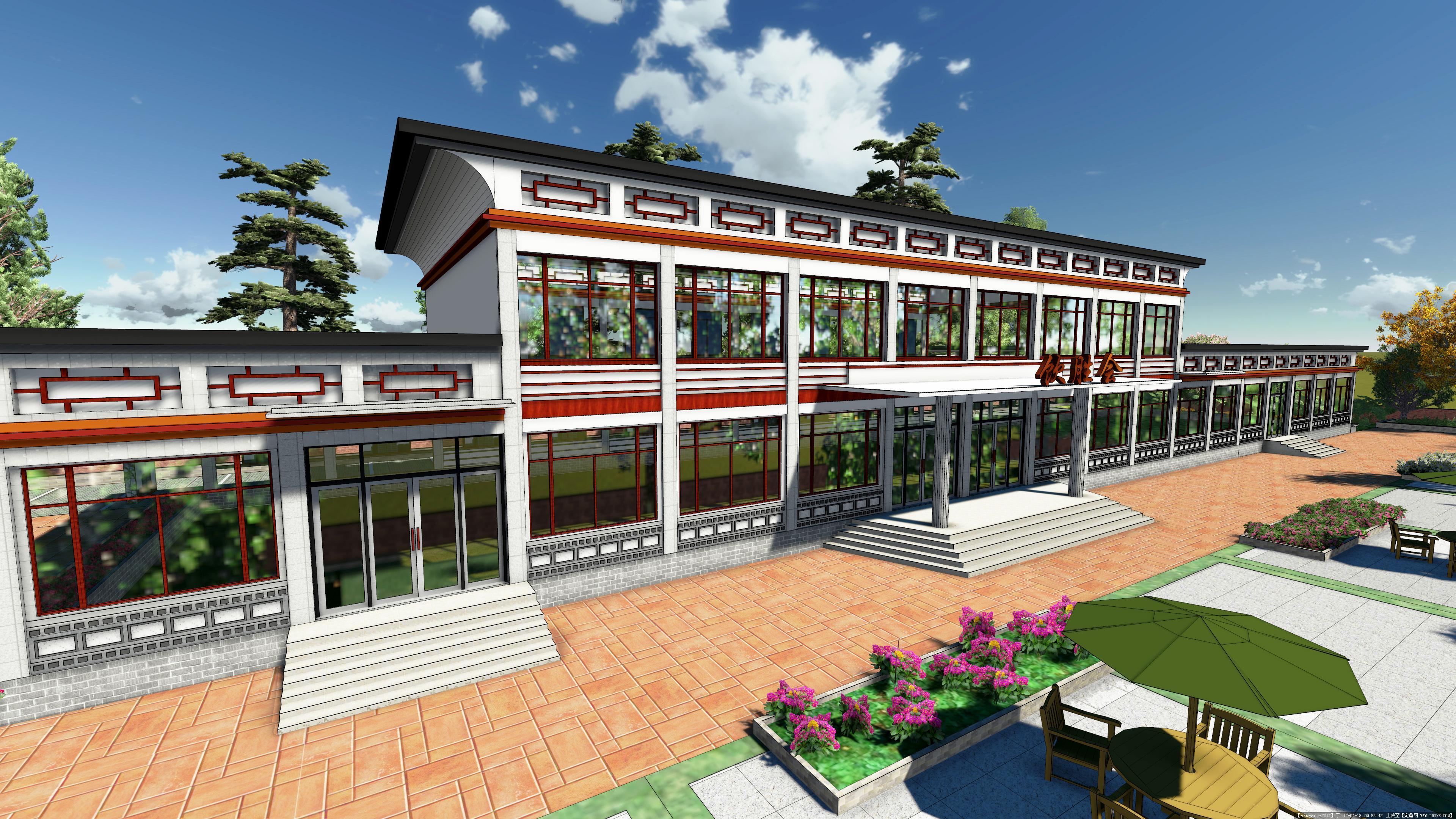 lumion做的中式园林餐厅建筑效果图图片
